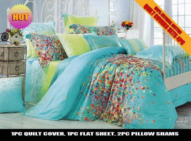 Linen Duvet On Sale At Reasonable Prices, Buy Flowe Print Green Turquoise  Print Discount Cotton Bed Linen Cheap Bedding Set Duvet Covers For  Full/queen ...