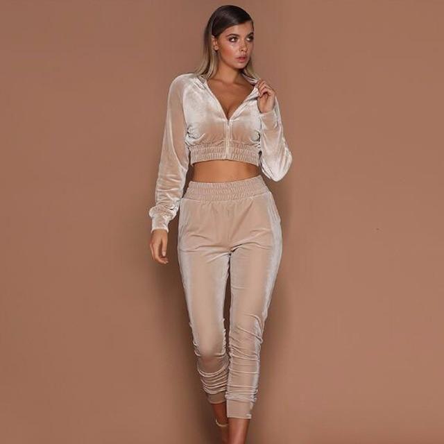 NAVY Women VELOUR Hoodie Track suit Jacket Sweat Pants Set Sports Yoga S M L XL