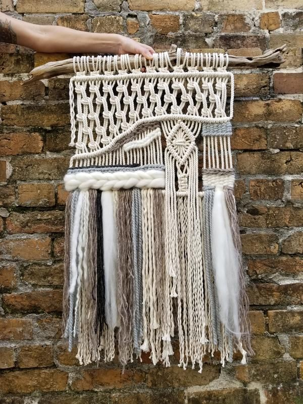 Dendritic Agate Macrame Wall Hanging by MossHound Designs - Gemstone Collection #macramewallhanging #macrame