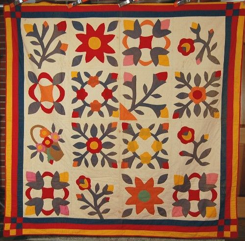 1920's Vintage Floral Album Antique Quilt: red green, cheddar and yellow | French 72 at eBay