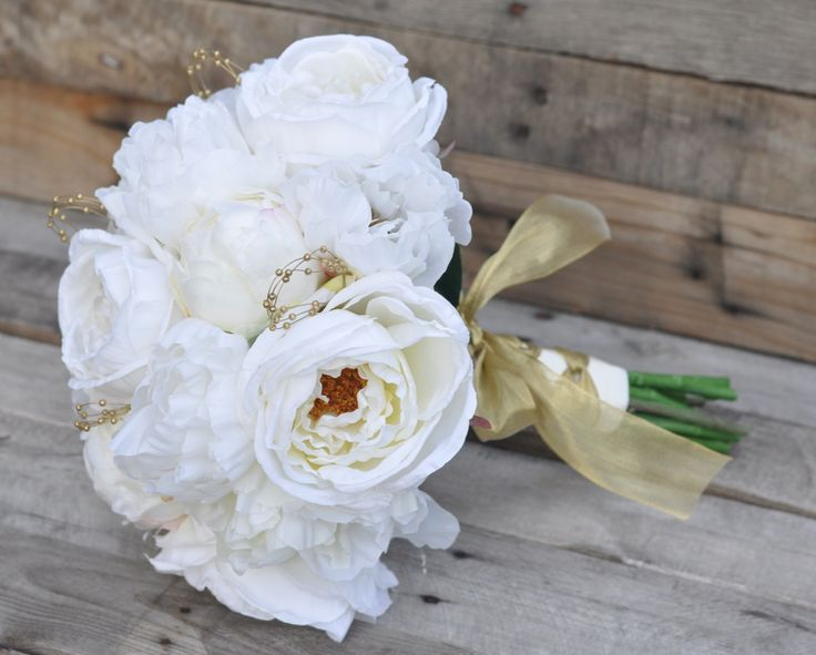 Ivory cabbage rose and peony silk flower bouquet with gold accents, perfect for your destination wedding and keeping forever! Holly's Wedding Flowers. Holly's Flower Shoppe on Etsy.