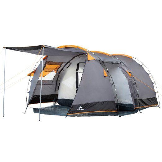 CampFeuer - Tunnelzelt Familienzelt 3000mm Wassersäule, Grau / Schwarz (Orange), Campingzelt für 4 Personen