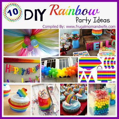 Frugal Mom and Wife: 10 DIY Rainbow Party Ideas! - has a great example of how to do balloon rainbow