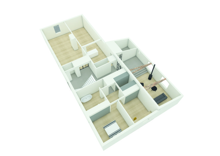 Interne herstructurering langgevelboerderij waarbij er eenheid is gecreëerd door verschil in vloeren. Gebruikte materialen zijn: eiken houten vloeren en bestaande eiken balken, gietvloer, stalen deurkozijnen, ontworpen door De Nieuwe Context