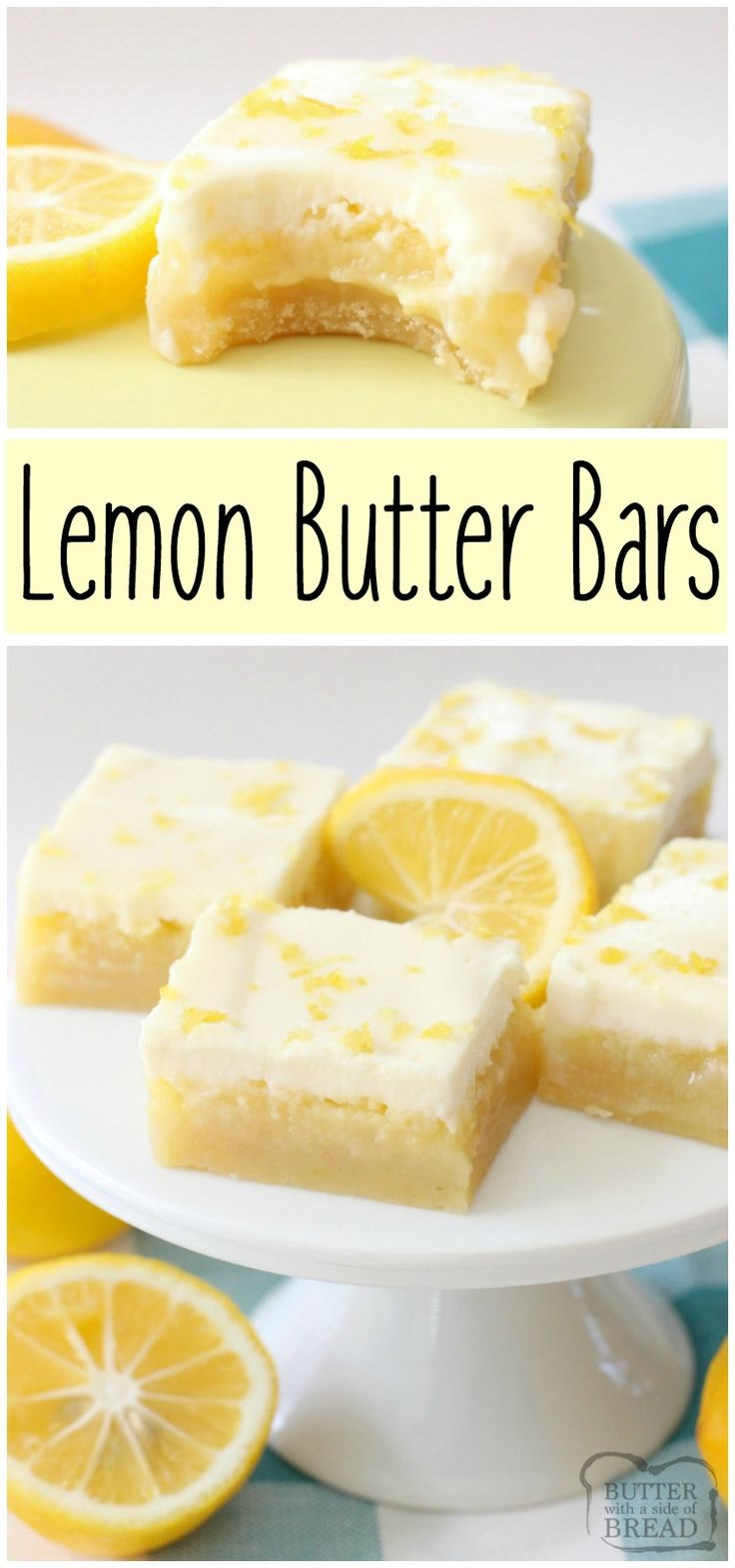Triple layer lemon bars that are easy to make and have a lovely, bright lemon flavor. Wonderful dessert recipe for Lemon Butter Bars from Butter With A Side of Bread