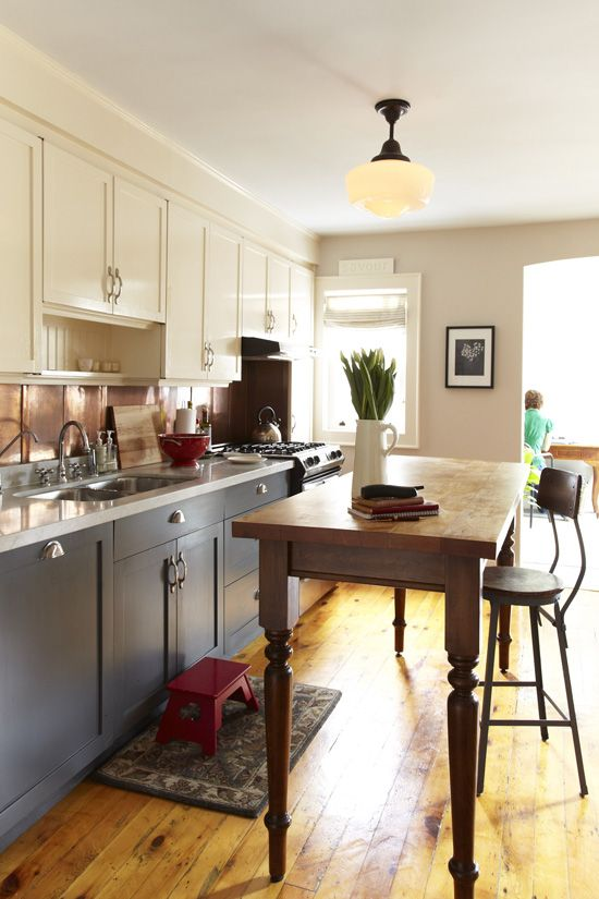 Love This Kitchen With Grey And Cream Painted Cabinets And Wood Table/island