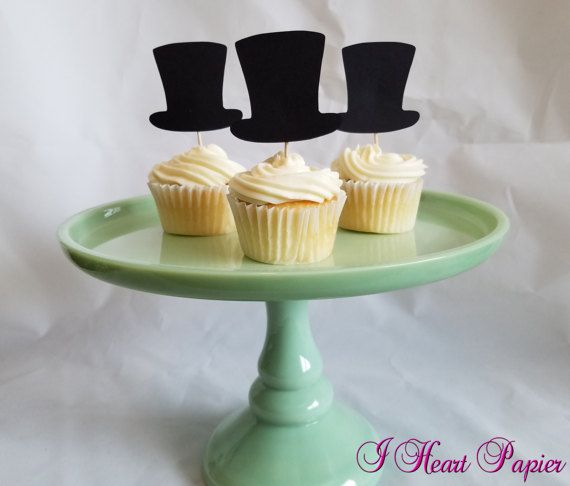 Top hat and bow tie cupcake toppers