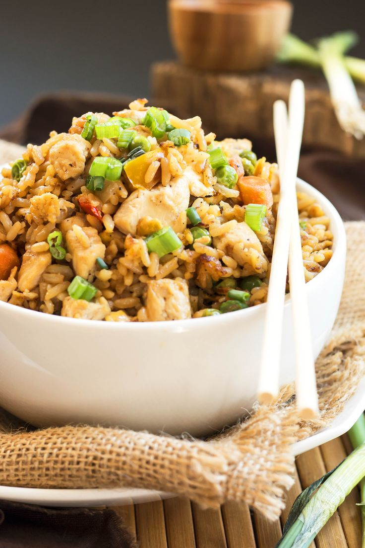 Use Mahatma Jasmine Rice to create this super flavorful, quick, and easy Chicken Fried Rice. A must-try recipe!