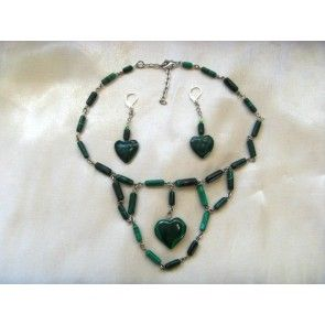 Malachite heart pendant on chain necklace, 37cm