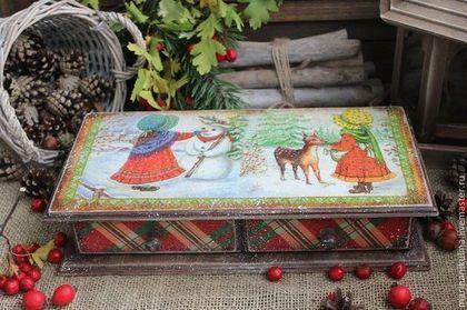 """""""Время пряников"""" короб - коричневый,красный,кантри,деревенский стиль,рождество"""