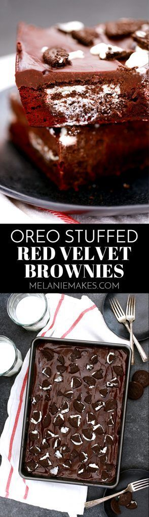 These Oreo Stuffed Red Velvet Brownies are deliciously decadent! A thick, fudgy red velvet brownie base is stuffed with Oreos and then covered with a layer of chocolate ganache and even more crumbled cookies.