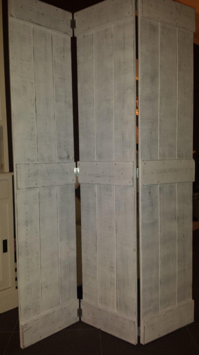 Driedelige houten kamerscherm