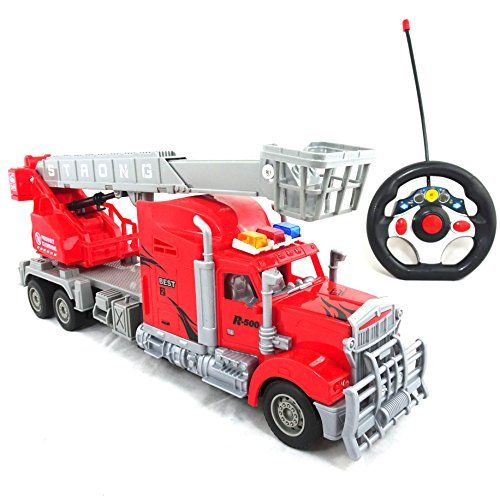 Best Quality Toy Truck Remote Control Fire Truck  Awesome RC Police Truck With Working Headlights >>> Click on the image for additional details.Note:It is affiliate link to Amazon.