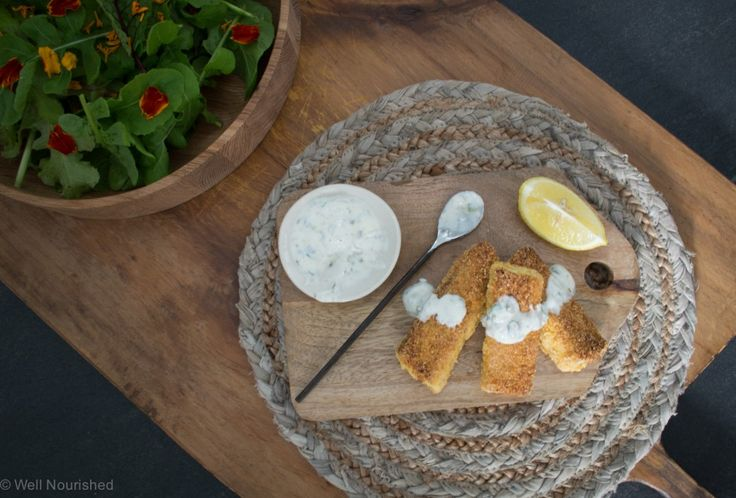 Gluten Free Fish Fingers - with a yoghurt tartare. These healthy and homemade fish fingers have a crispy crumb that the kids will love.