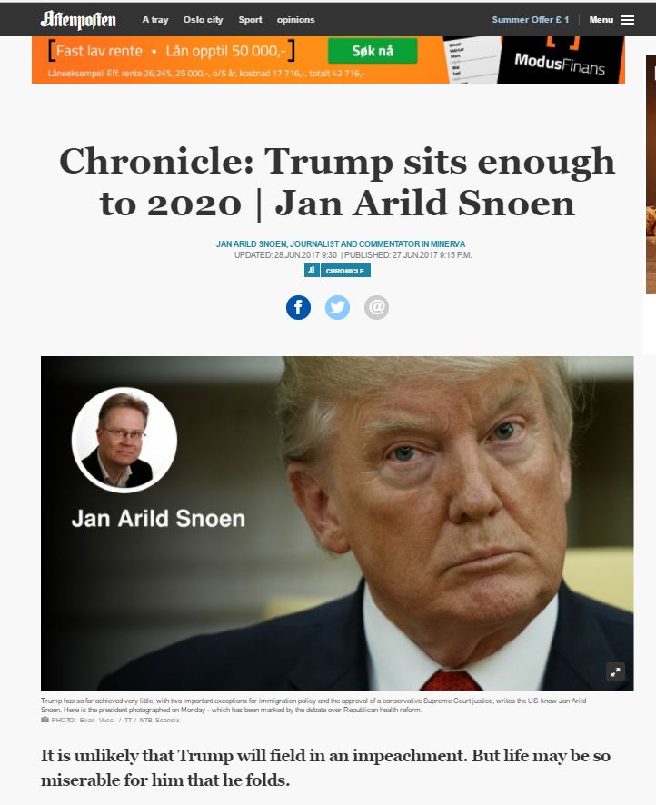 Norwegian MSM Contempt for the President Donald J Trump  Apparently, Jan Arild Snoen didn't get the news that CNN and Russiagate were Fake News Afterall. Three CNN investigative journalists have resigned and the Trump House is not backing down. CNN is reeling and more people are turning to...
