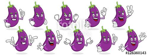 "Download the royalty-free vector ""eggplant mascot vector pack, eggplant character set, vector of eggplant"" designed by ednal at the lowest price on Fotolia.com. Browse our cheap image bank online to find the perfect stock vector for your marketing projects!"