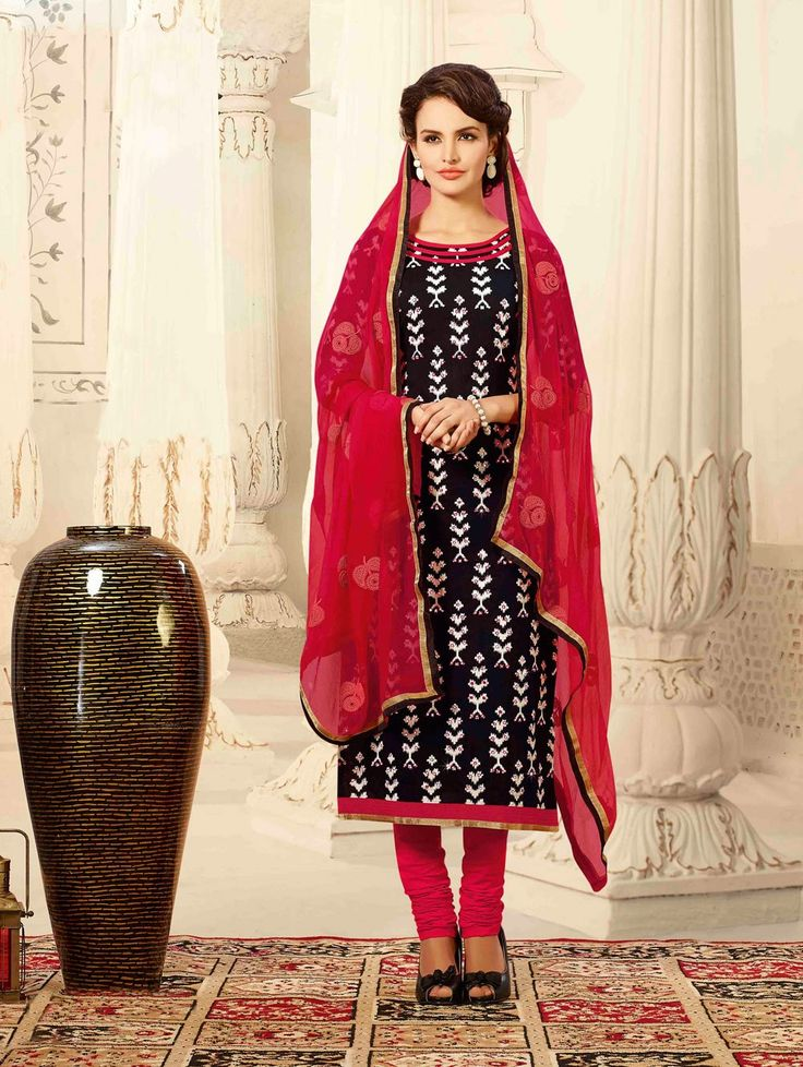 Black Chanderi Suit with Embroidery Work