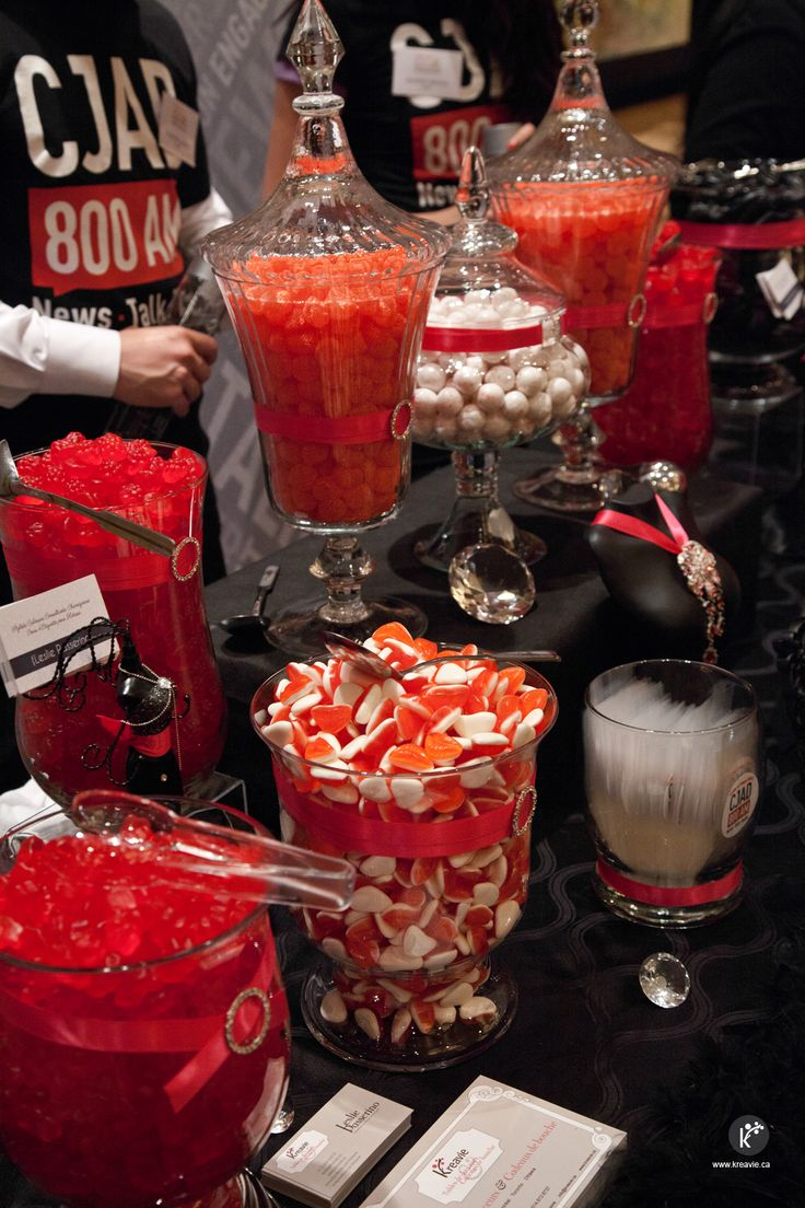 Halloween candy buffet idea - Red White And Black Candy Buffet