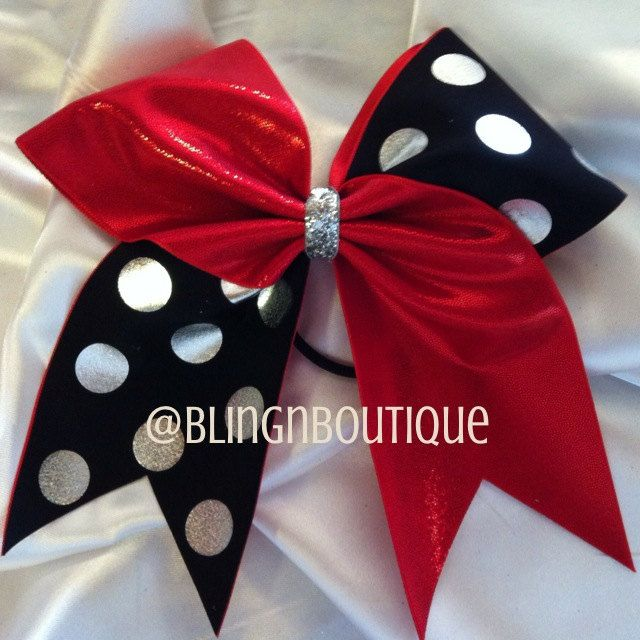 Red Jester  Red Black & Silver Cheer Bow by BlingNBoutique on Etsy, $10.00