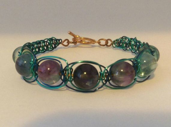 Fluorite and coloured wire bracelet. ladies macrame wire