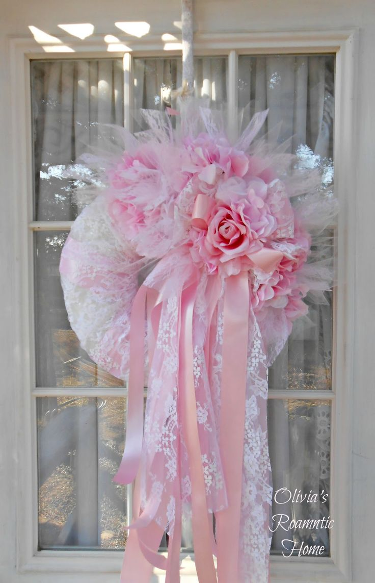 Olivia's Romantic Home: Shabby Chic Valentine's pi.k wreath