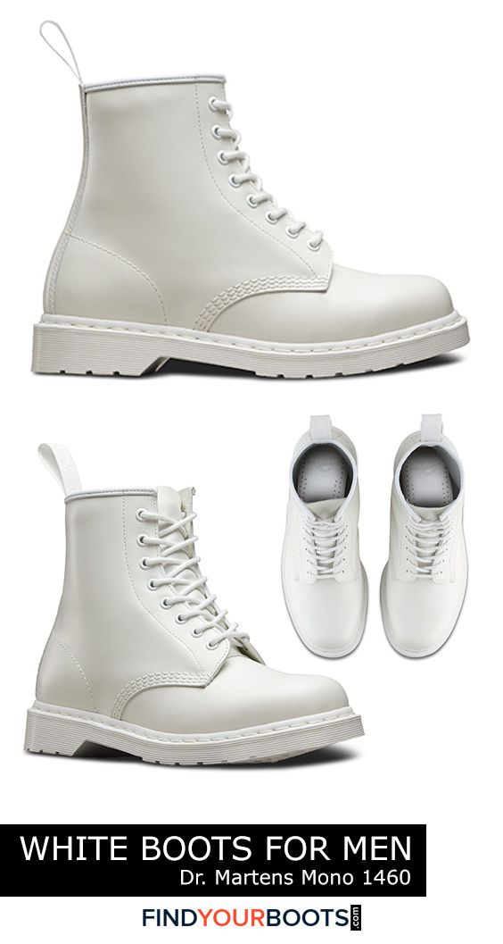 Dr Martens white combat boots for men - White boots are not only a bold fashion statement but a smart alternative to white sneakers during inclement weather. Here we review our favorite all white boots for men that are available right now.