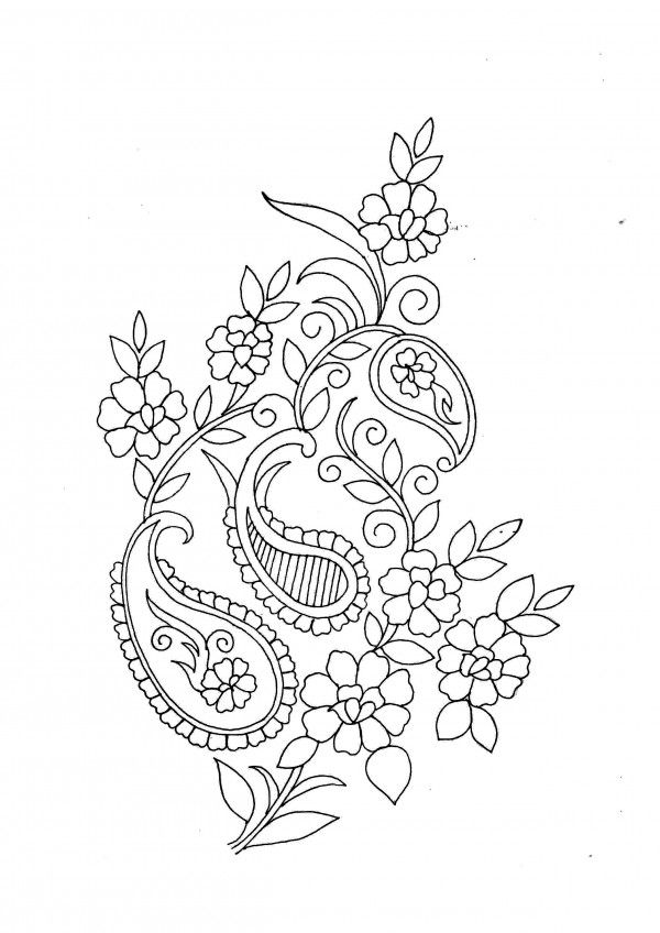 Embroidery pattern flowers with leaves