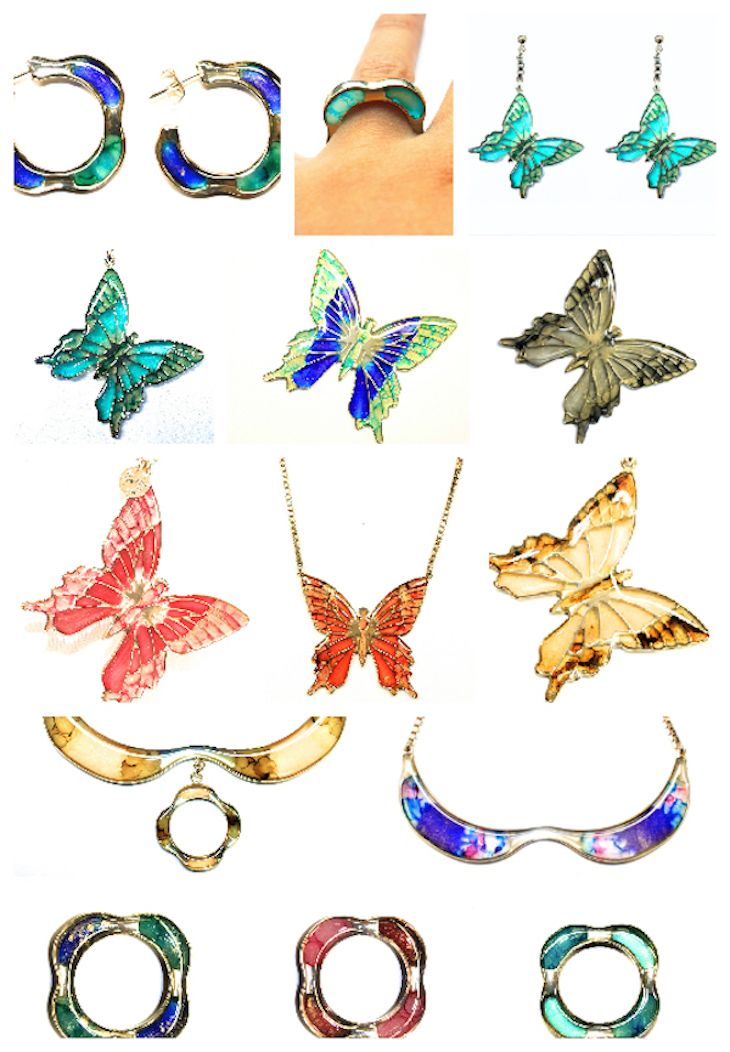 #fluorescent #jewels on my blog  #butterfly #jewels #necklace  #ring #bracelets #style #summer #colorful