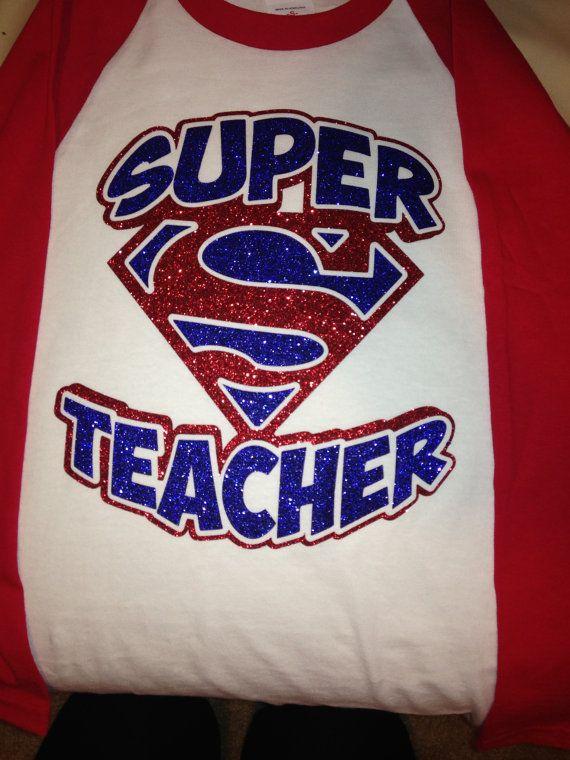 Super Teacher Glitter Baseball T Shirt!! on Etsy, $20.00