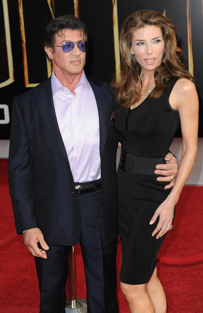 Sylvester Stallone with wife Jennifer Flavin. Picture: AFP/Robyn Beck