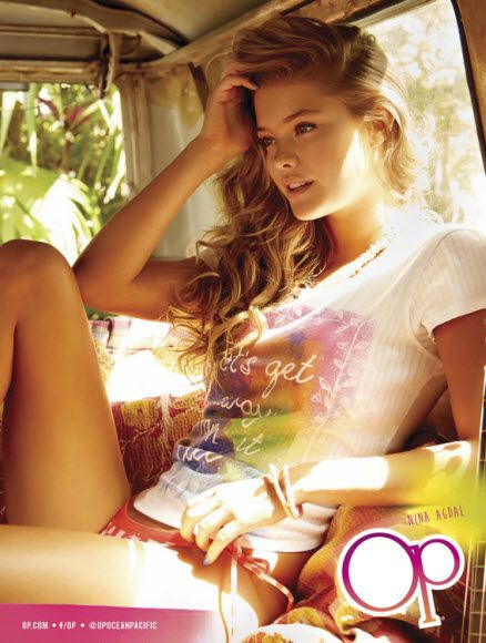 Nina Agdal in shirt and bikini bottoms in the Op Spring/Summer 2014 campaign