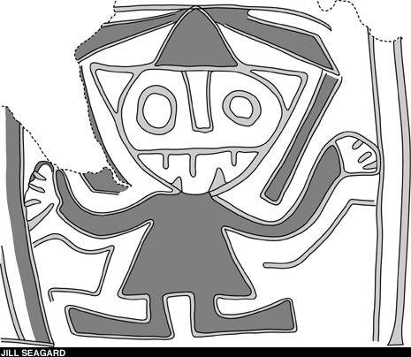 в долине реки Пативилька обнаружен типичный для поздних Андских культур образ центрового «Бога с посохами» [Staff God] (датирован 2250 до н.э.). На сохранившемся куске тыквы угадываются не только посохи, но также когти и кошачьи уши, отсылая к известному «Кошачьему Богу» держав Чавин и Мочика.
