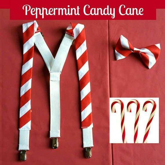 Candy Cane Suspenders and Bow Tie Red and White Wedding, Christmas Wedding, Christmas Colors by GeekFashionSource