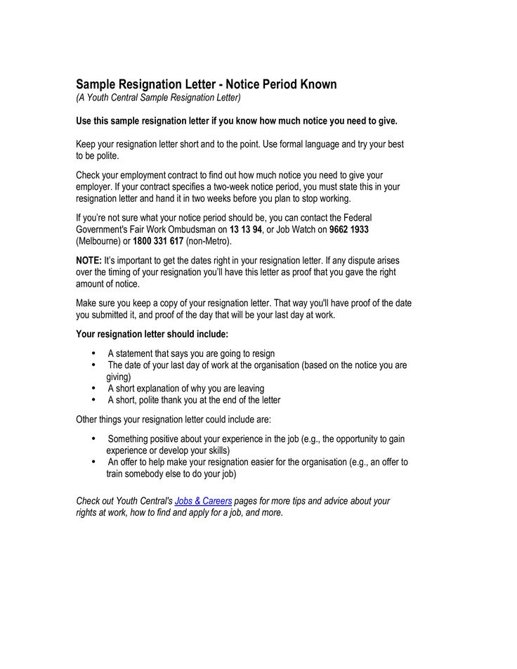 Handing In Notice At Work Template Gallery - Template Design Ideas - why notice period is important