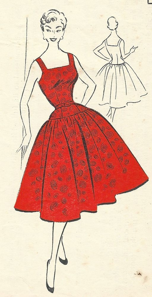 Vintage 1950's Sewing Pattern Square Neck Circle Dress Rockabilly Bust 36""