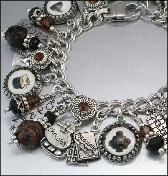 Chocolate Silver Charm Bracelet Chocolate by BlackberryDesigns, $123.00
