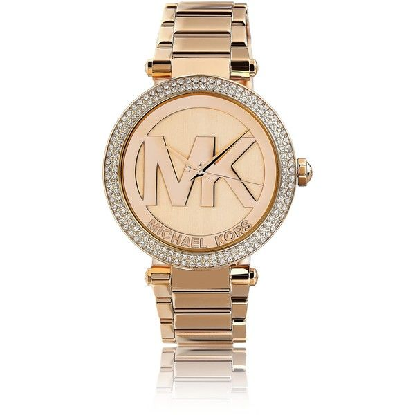 Michael Kors Women's MK5865 'Parker' Logo Dial Rosetone Watch (3,545 MXN) ❤ liked on Polyvore featuring jewelry, watches, pink, rose gold tone jewelry, pink dial watches, quartz movement watches, snap jewelry and pink jewelry