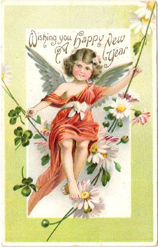 ... wishing you a happy new year, vintage angel postcard