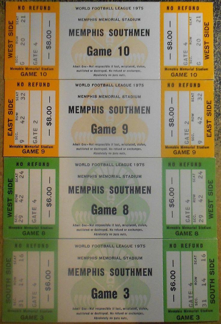 Memphis Southmen 1975 Ticket Stub Lot of 4 - WFL Football