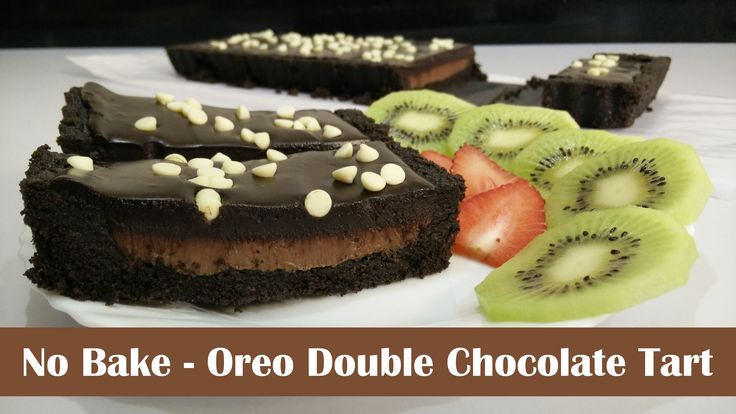 No Bake - Oreo Double Chocolate Tart Recipe by Cooking with Smita  This No bake chocolate tart is absolutely AMAZING. It's quite easy to make this tart. No oven is required. It is made from Oreo, Milk Chocolate and Dark Chocolate. The crust is made with whole Oreos.  If you love Oreo and Chocolate, you will definitely love it.