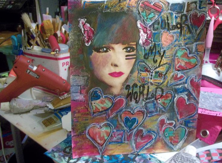 Art Journal page, background made from no gelli plate printing...