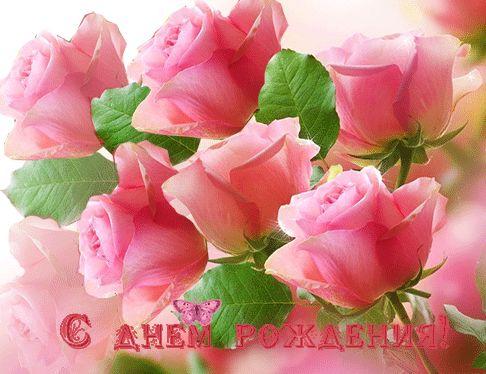 Скачать gif открытки: С днём рождения! розовые розы gif из категории С днём рождения.