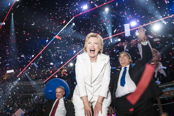 An ecstatic Hillary Clinton celebrates at the conclusion of the Democratic National Convention where she accepted the nomination on Thursday, July 28, 2016 in Philadelphia.