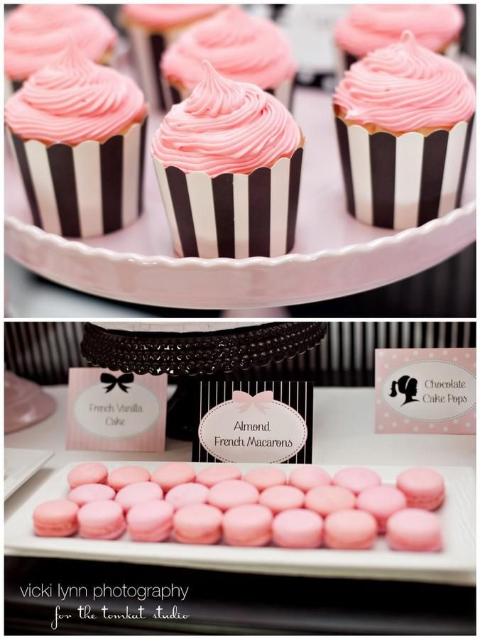 Dessert Table: Pink Cupcake, Cupcake Holders, Girls Party, Black And White, Party Idea, Stripes Cupcake, Barbie Party, Black White Stripes, Birthday Party