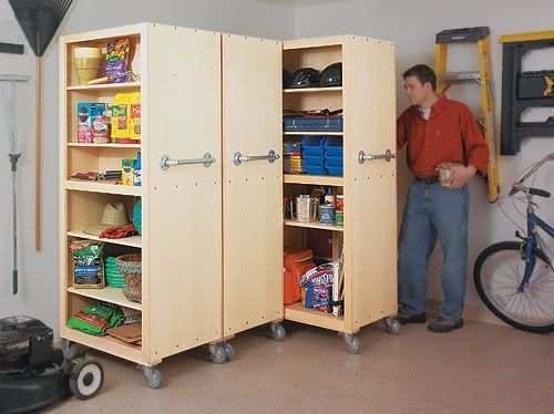 Garage Storage Cabinets - Rolling - Go sideways. Cabinets on locking casters work really well in our garage