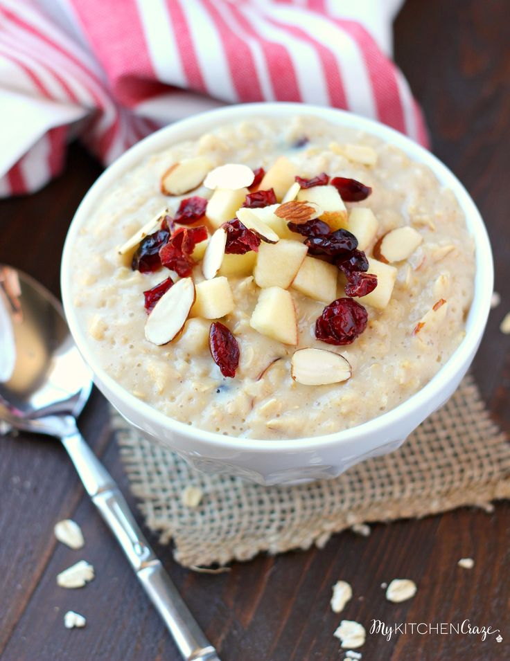 Enjoy this creamy delicious oatmeal for breakfast. Added with dried cranberries and apples, this oatmeal is a must make.