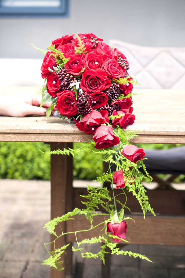 Trailing wedding bouquet with prestige red roses, viburnum berry and asparagus fern.
