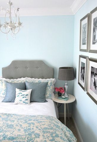 Bedroom in pale blues, whites, grays