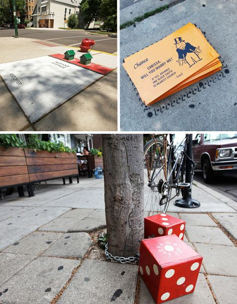 Chicagoans found themselves in the middle of a giant Monopoly game in summer 2012, with installations all over the city including giant cards, dice and playing pieces. What did it all mean? Could they really play? It turned out to be an art installation by an artist (or artists) known as Bored, who said the goal of the project was to keep three-dimensional, fun street art a constant part of the landscape that would continually pop back up and evolve every time it was removed.