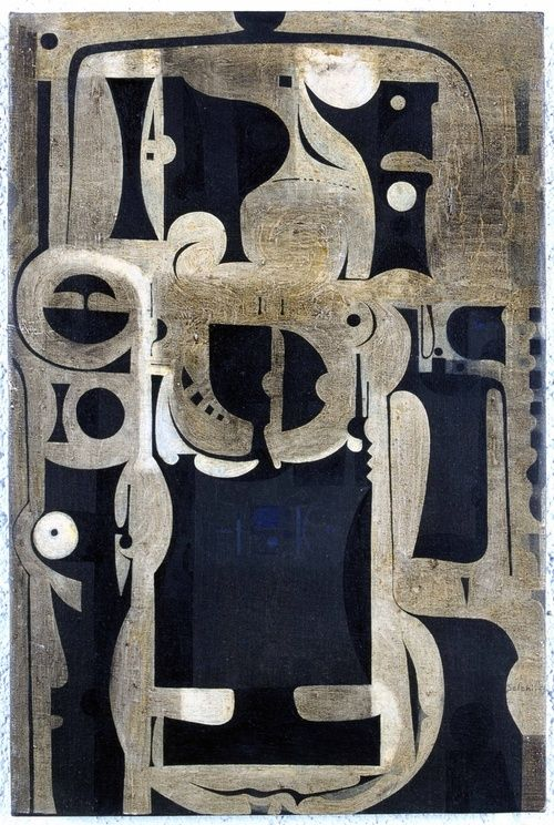 'They Always Appear' - oil on canvas, by Ibrahim El-Salahi, 1964-5  (photo courtesy: Museum for African Art / Andy Keate)